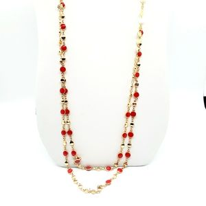 BANCROFT STITCH FIX LONG GOLD RED NECKLACE NEW